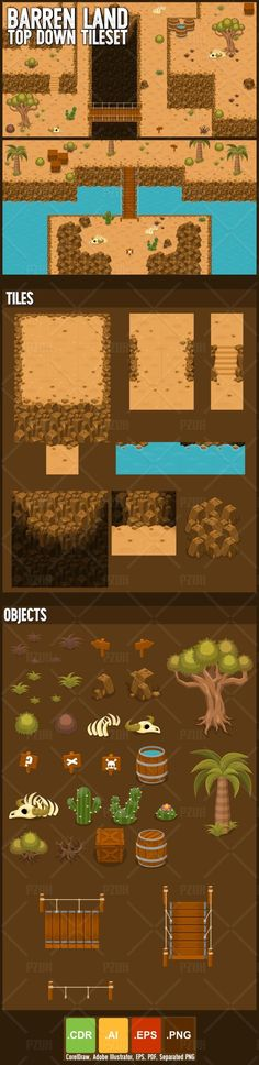 Set of tiles to create a map for top-down games.  With desert, barren, &…