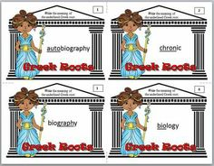 GREEK AND LATIN ROOTS: TEACH IT IN AN HOUR - Task cards with super cute graphics