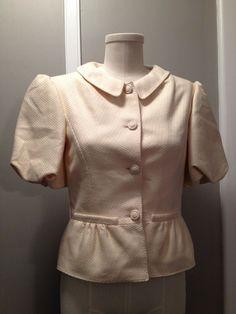 Valentino Short Balooned Sleeves 100% silk Ivory Jacket Size 6 (runs small) #Valentino #BasicJacket