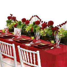 Valentines Day Romantic Table - Use White Chavari chairs and Verona Crimson Table Linen