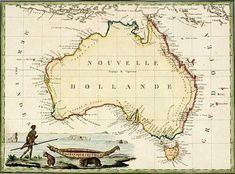 Nouvelle Hollande, This old French map of Australia from 1801 is more accurate, with the whole coastline now explored. Some of the map does not look like a modern map of Australia, such as the bottom right side being lopsided compared with the bottom left coast of what is now Western Australia, and Cape York in Queensland being underscale.