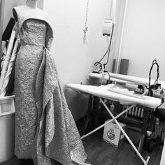 Metallic jacquard gown draping in the studio today.