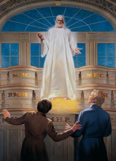 The Lords Appearance to Joseph Smith and Oliver Cowdery in the Kirtland Temple by Theodore S. Joseph Smith, Church Pictures, Jesus Pictures, Lds Pictures, Kirtland Temple, Mormon History, Doctrine And Covenants, Mormon Doctrine, Book Of Mormon