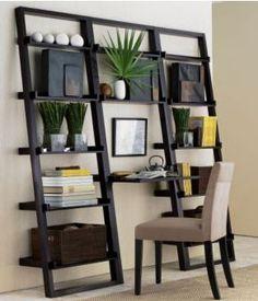ladder shelves, ladder desk