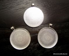 Silver Pendant Trays / Bezels Circle 40mm (6). Starting at $5 on Tophatter.com!
