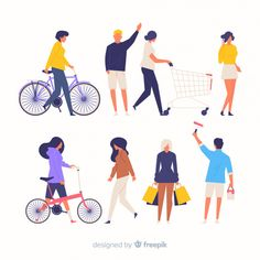 Colorful hand drawn people doing different actions Free Vector People Illustration, Business Illustration, Flat Illustration, Character Illustration, Photoshop, People Cutout, Dog Icon, Wordpress Website Design, Design Reference