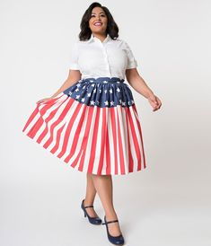 67f13b42e63 Unique Vintage Plus Size 1950s Style American Flag High Waist Swing Skirt