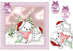 Christmas snowmen quick card on Craftsuprint designed by Cynthia Berridge - Christmas snowmen quick card - Now available for download!