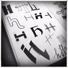 H, kleine letters, handlettering