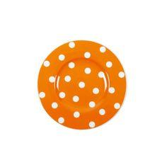 Assiette à dessert ronde porcelaine Freshness Dots orange - Bruno Evrard Création