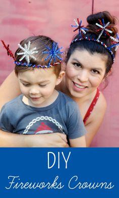 Fireworks Crowns - Inner Child Fun DIY of July Fireworks CrownsDIY of July Fireworks Crowns July Crafts, Summer Crafts, Summer Fun, Crafts For Kids, Patriotic Crafts, Patriotic Party, Family Crafts, Crown Crafts, Diy Crown