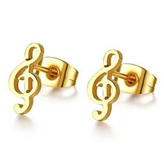 * Penny Deals * - SumBonum Jewelry Womens Polished Finish Stainless Steel Novelty Music Note Stud Huggie Earrings Set, Golden -- See this great product.