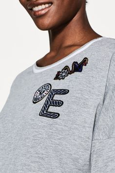 Esprit - Melange oversized T-shirt with patches at our Online Shop