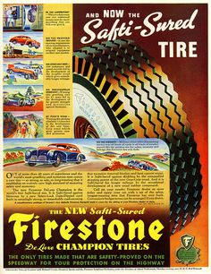 Old Advertisements, Retro Advertising, Vintage Ads, Vintage Prints, Vintage Graphic, Graphic Art, Firestone Tires, Old Ads, Retro Cars