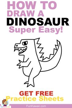 How to draw a Dinosaur. Step by step tutorial / Free practice sheets / Video tutorial available! Simple drawing, perfect for kids or beginners! Doodle For Beginners, Easy Drawings For Beginners, Easy Drawings For Kids, Drawing For Kids, Drawing Tips, Art For Kids, Simple Drawings, Sketching Tips, Drawing Techniques