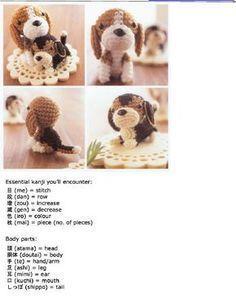 Patrón de amigurumi para hacer un perrito de raza Beagle en ganchillo