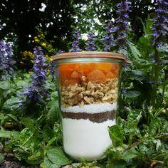 In een glazen (weck)pot van 1 liter gaat: -250 gram zelfrijzend bakmeel + een snufje zout -50 gram donker bruine basterdsuiker (alles nu even heel goed aandrukken) -50 gram witte suiker -100 gram walnoten in stukjes -130 gram gedroogde abrikozen in stukjes