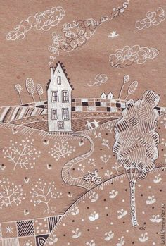 Пейзаж ручной работы. Ярмарка Мастеров - ручная работа. Купить Фруктовые поля. Картина. Handmade. Коричневый, дом, домик, деревня