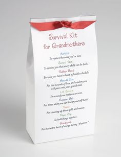 Goody bag for the grandmas....  maybe come up with things they will use when baby is at their house? socket covers, wipes, hand sanitizer, spare paci, book, toy, etc New Grandma, Grandma Gifts, Grandma Cards, Grandmothers, Baby Shower Diapers, Grandparents, Baby Shower Themes, Shower Ideas, Gift Baskets