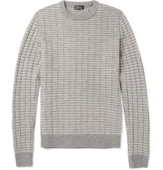 A.P.C. Patterned Ribbed Merino Wool Sweater | MR PORTER