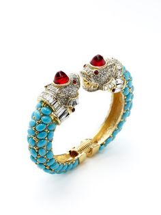 Turquoise Fish Bracelet by Kenneth Jay Lane at Gilt