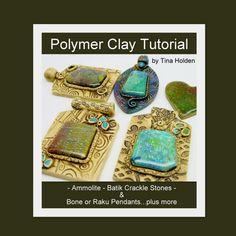 Ammolite Batik Veneers &  Pendants  Polymer Clay by Beadcomber, $18.00