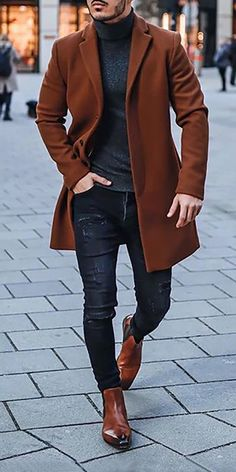 Men's Fashion Solid Colour Lapel Overcoat- Men's Fashion Solid Colour Lapel Overcoat [ SHOP NOW ] Men's fashion casual coats for you. Best Casual Wear For Men, Stylish Mens Outfits, Men Style Casual, Style Men, Smart Casual, Mens Sweater Outfits, Mens Suits Style, Cool Outfits For Men, Mens Dress Outfits