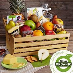 Everything in this gift basket is 100% USDA-certified organic, from the fresh pears to the dark chocolate bars. One of our favorite parts of this gift is the hod basket we've arranged it in. Once they've enjoyed its delicious bounty, they can take the specially made basket out to their own garden to harvest and rinse their produce, or display it as a decorative fruit bowl or centerpiece in their home.