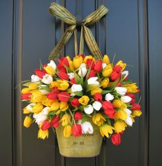front door decorations for spring | Spring Tulips - Farmhouse Tulips - Front Door Decor - Country French ...