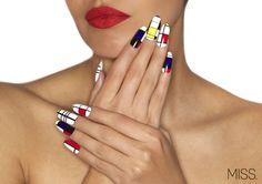 Color Block mondrian MISS x MINX nail wraps