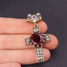 925 K  Womens Sterling Silver Cross Pendant with Gemstones for Necklace B2-62005