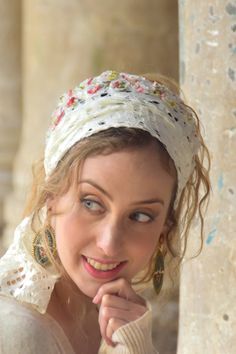 This head covering is a partial cover, made out of a beautiful lace fabric with floral detailing. It's made out of a very comfortable and high quality fabric and is very easy to tie and wear. Can be worn everyday or dressed up for an evening out! White Wisteria, Hair Turban, Modest Wear, Bandana Scarf, Lace Headbands, Scarf Hairstyles, Cotton Lace, Mom Style, Lace Fabric