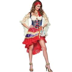 Good Fortune Adult Costume - Small ($110) ❤ liked on Polyvore featuring costumes, halloween costumes, gypsy fortune teller costume, gypsy halloween costume, party costumes, zombie costume y red costumes