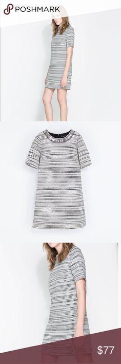 Zara beaded collar dress Brand new Zara dress!! Has a cool beaded collar. Black/ white pattern. Zara Dresses Mini