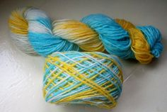 Sock yarn hand dyed merino alpaca 100g yellow by SpinningStreak, $16.00