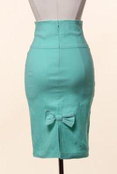 Bow Back High Waist Pencil Skirt in Mint