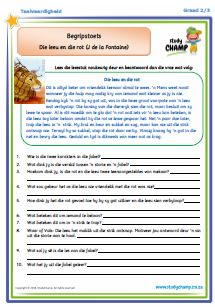 Begripstoets Graad 2/3 Afrikaans Language, 3rd Grade Math, Grade 3, School Worksheets, Kids Poster, Business For Kids, Kids Education, School Projects, Comprehension