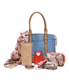 Denim Ostrich Embossed Buckle Jane Satchel & Essentials Kit by emilie m. #zulily #zulilyfinds