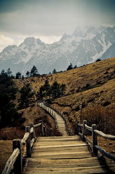 Mountain hiking trail  Near Lijiang, Yunnan province, China.