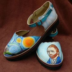 Sandals Leather Handmade Shoes - Van Gogh Starry Night & self portrait Turquoise Blue Yellow Sunny, STOCK Size 5, 6, 7, 8, 9, 10,11,12. or