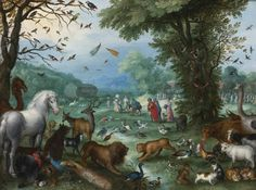JAN BRUEGHEL THE ELDER BRUSSELS 1568 - 1625 ANTWERP PARADISE LANDSCAPE WITH THE ANIMALS ENTERING NOAH'S ARK signed and dated lower left: BRVEGHEL 1596 also signed or inscribed by scratching into the copper on the reverse of the plate: 1596/Brueghel oil on copper 10 3/8 by 14 in.; 26.5 by 35.6 cm.