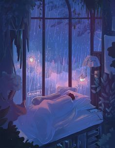 A cozy place to enjoy the rain. Aesthetic Gif, Aesthetic Pictures, Aesthetic Wallpapers, Aesthetic Drawing, Aesthetic Pastel, Animes Wallpapers, Cute Wallpapers, Japon Illustration, Magazine Illustration