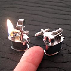 Cuff Links that burn?? Get them for your cigar smoking man for christmas. Hopefully he won't burn the house down. Gifts for men.