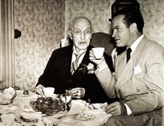 British born American entertainer Bob Hope enjoys a cup of tea during a visit to the U.K. to visit his grandfather  (1943).