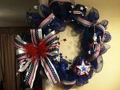 Fourth of July/Patriotic Deco Mesh Wreath