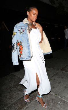 "Who: Rihanna What: A Denim Bomber Jacket Why: The singer is the picture of cool in an embroidered denim jacket by Gucci—it falls under the category we like to call ""Game Changer."" Get the look: Gucci jacket, $4,950, gucci.com."