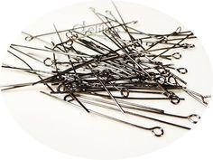 50pcs of 40 mm GunMetal Eye Pin Head Pin by DelilahSuppliesStore