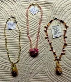 Three Simple Polymer Clay and Pearl Pendant Necklaces. Center Necklace has Rose Quartz beads, Left and Right Necklaces have Pearls.