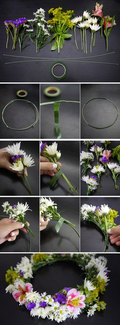 DIY flower crown - Perfect for a summer wedding! DIY flower crown - Perfect for a summer wedding! Diy Flower Crown, Diy Crown, Flower Crown Tutorial, Bow Tutorial, Flower Head Wreaths, Flower Garlands, Flower Crafts, Diy Flowers, Fresh Flowers