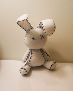 Felt little goth white rabbit plush stuffed toy by SouthernGothica, conejito de fieltro